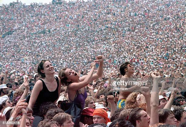 7/13/1985Philadelphia PA Some of the 90000 rock fans on hand to watch the Philadelphia portion of the Live Aid Concert in John F Kennedy Stadium 7/13...