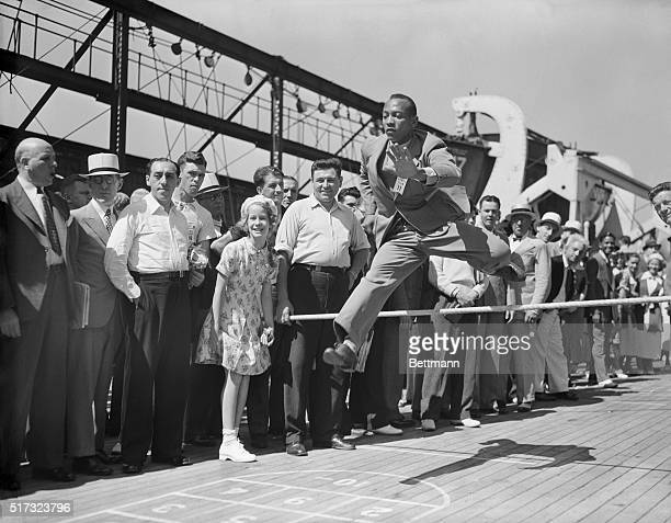 7/15/1936Jesse Owens practices aboard the SS Manhattan on the way to the Olympic games in Berlin