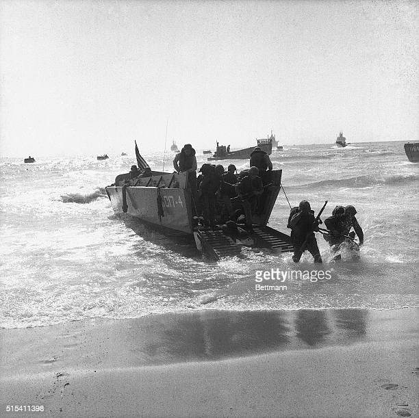 7/15/1958Beirut Lebanon The first US Marines to arrive hit the beach at Khalde outside Beirut Note ships of the Sixth Fleet in the background A third...