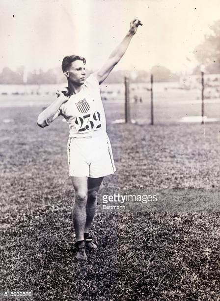 7/16/1924Paris France Olympic athlete C Houser of the United States competes in weight throwing at Colombes Stadium