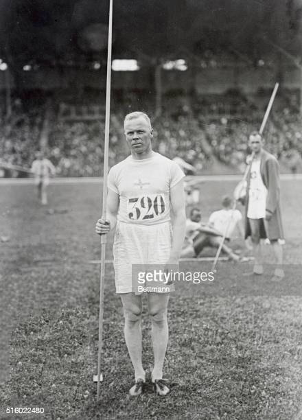7/16/1924Paris France Olympic athletes at Colombes Stadium Photo shows Myrra Finland winner of the javelin throw