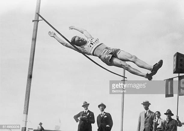 7/16/1924Paris France Pierre Lewden the phenomenal French jumper who in spite of his small stature dogged the trail of Osborn of the US in the high...