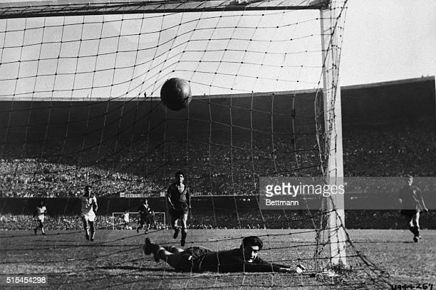 7/16/1950Rio De Janeiro Brazil Ramallets Spanish goal keeper lies on the ground after failing to prevent a goal by Jair Brazilian left insider during...