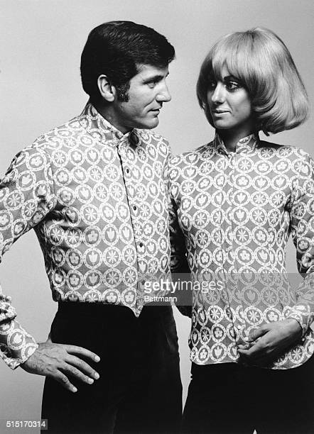 7/16/1969Rome Italy Male and female togetherness is punctuated in today's unisex fashion treand Displaying the look colorfully is this shirt combo...