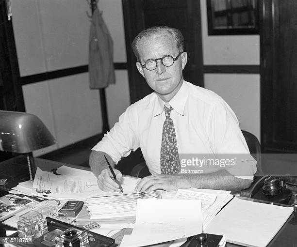 Washington, DC-Pictured at his desk is Joseph P. Kennedy, Chairman of the Securities Commission recently appointed to regulate the Stock Exchange.