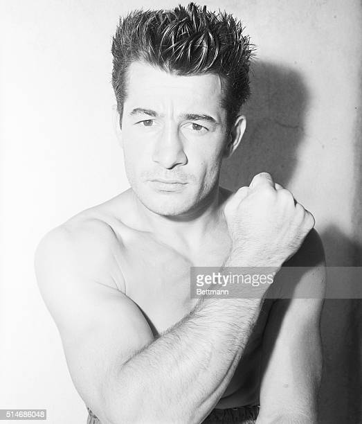 Greenwood Lake, New Jersey: Rocky Graziano, the east side tough boy who meets Tony Zale of Gary, Indiana, July 25 in the Yankee Stadium for the...