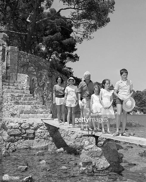 7/16/57Cap Ferrat France Enjoying their French Riviera vacation at Cap Ferrat are famed comedian Charlie Chaplin and his family MrsChaplin the former...