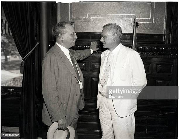 7/17/1936Topeka Kansas Eugene Meyer publisher of the Washington Post chatting with Governor Alf M Landon Republican Presidential nominee during a...