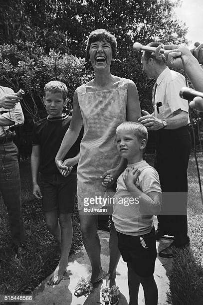 7/17/1969Seabrook TX Mrs Janet Armstrong accompanied by her two sons Eric and Mark talk to newsmen in front of her home 7/17 Mrs Armstrong watched...