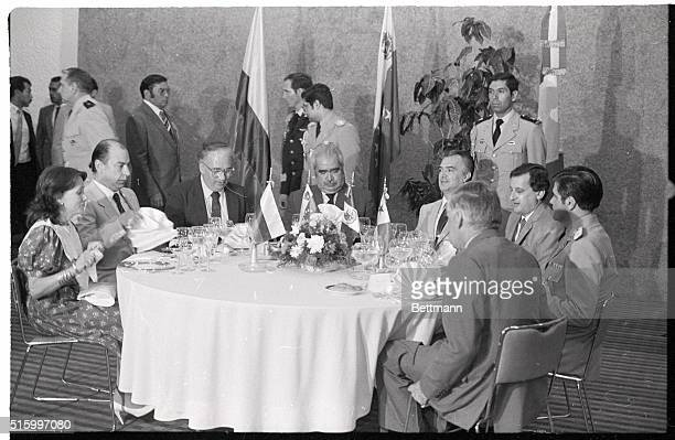 7/17/1983Cancun Mexico Contadora Group Presidents sit down to lunch with aides in a Cancun hotel after a working session trying to find a solution to...