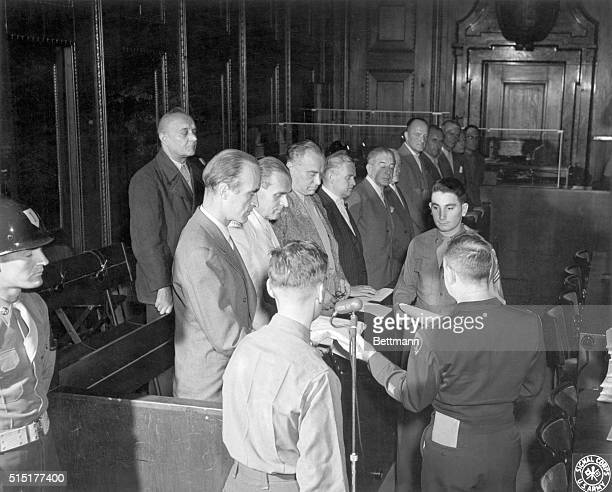 Nuremberg, Germany: Alfried Krupp von Bohlen und Halbach , the main defendant in case no. 10 at the Nuremberg Palace of Justice, is shown as the...