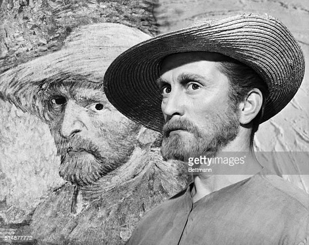 Los Angeles, CA: Actor Kirk Douglas poses beside a self-portrait of Vincent Van Gogh, painted by the artist in 1886-1887 to show his remarkable...