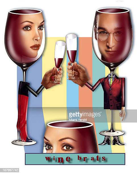 71p x 90p Phillip Brooker color illustration of wine glass man and woman toasting.