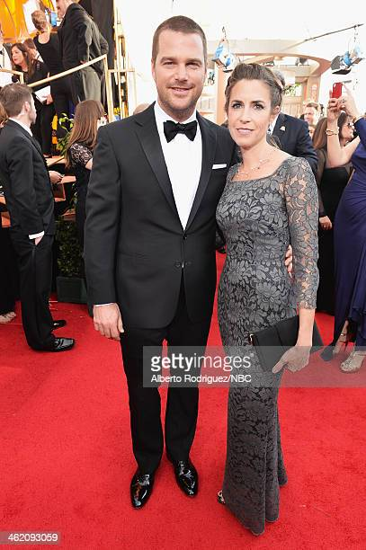 71st ANNUAL GOLDEN GLOBE AWARDS Pictured Actor Chris O'Donnell and Caroline Fentress arrive to the 71st Annual Golden Globe Awards held at the...
