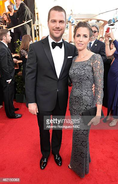 71st ANNUAL GOLDEN GLOBE AWARDS -- Pictured: Actor Chris O'Donnell and Caroline Fentress arrive to the 71st Annual Golden Globe Awards held at the...