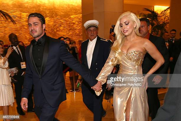 71st ANNUAL GOLDEN GLOBE AWARDS -- Pictured: Actor Taylor Kinney and singer Lady Gaga attend Universal, NBC, Focus Features, E! Sponsored by Chrysler...