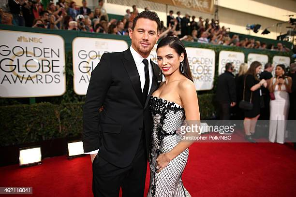 71st ANNUAL GOLDEN GLOBE AWARDS -- Pictured: Actors Channing Tatum and Jenna Dewan arrive to the 71st Annual Golden Globe Awards held at the Beverly...