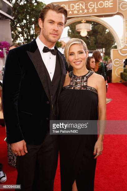 71st ANNUAL GOLDEN GLOBE AWARDS Pictured Actors Chris Hemsworth and Elsa Pataky arrive to the 71st Annual Golden Globe Awards held at the Beverly...