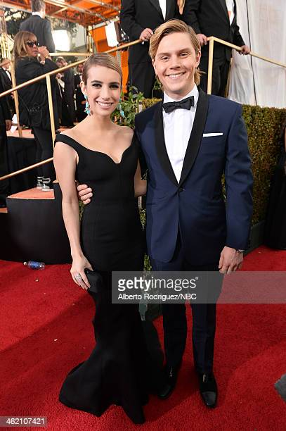 71st ANNUAL GOLDEN GLOBE AWARDS Pictured Actors Emma Roberts and Evan Peters arrive to the 71st Annual Golden Globe Awards held at the Beverly Hilton...