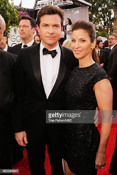 71st ANNUAL GOLDEN GLOBE AWARDS Pictured Actors Jason Bateman and Amanda Anka arrive to the 71st Annual Golden Globe Awards held at the Beverly...