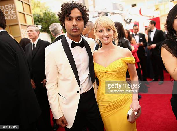 71st ANNUAL GOLDEN GLOBE AWARDS Pictured Actors Kunal Nayyar and Melissa Rauch arrive to the 71st Annual Golden Globe Awards held at the Beverly...