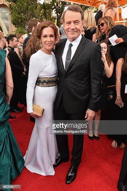 71st ANNUAL GOLDEN GLOBE AWARDS Pictured Actors Robin Dearden and Bryan Cranston arrive to the 71st Annual Golden Globe Awards held at the Beverly...