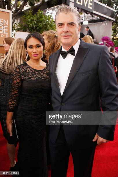 71st ANNUAL GOLDEN GLOBE AWARDS Pictured Actors Tara Wilson and Chris Noth arrive to the 71st Annual Golden Globe Awards held at the Beverly Hilton...