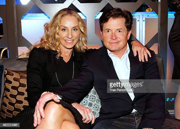 71st ANNUAL GOLDEN GLOBE AWARDS Pictured Actors Tracy Pollan and Michael J Fox attend Universal NBC Focus Features E Sponsored by Chrysler Viewing...