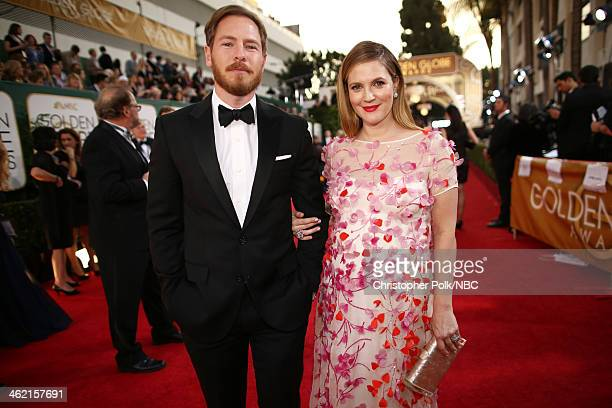 71st ANNUAL GOLDEN GLOBE AWARDS Pictured Actors Will Kopelman and Drew Barrymore arrive to the 71st Annual Golden Globe Awards held at the Beverly...