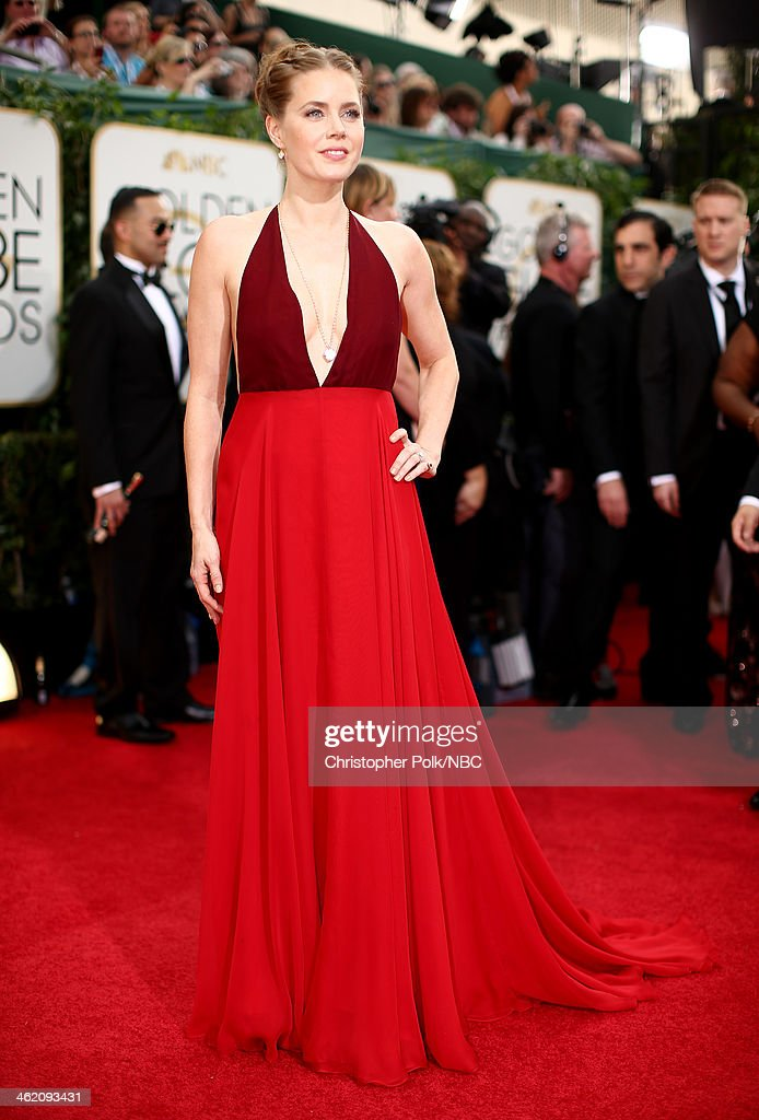 71st ANNUAL GOLDEN GLOBE AWARDS -- Pictured: Actress Amy Adams arrives to the 71st Annual Golden Globe Awards held at the Beverly Hilton Hotel on January 12, 2014 --