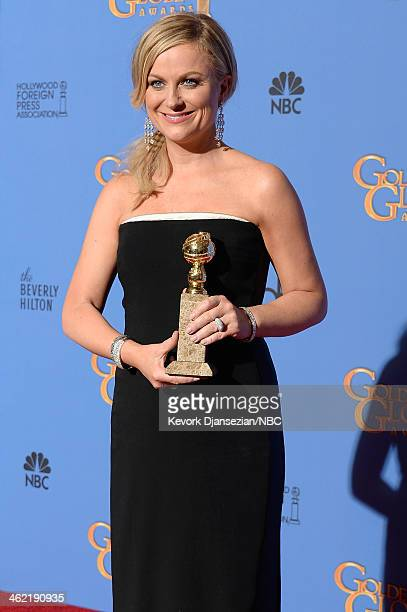 71st ANNUAL GOLDEN GLOBE AWARDS Pictured Actress Amy Poehler winner of Best Actress in a Television Series Musical or Comedy for 'Parks and...