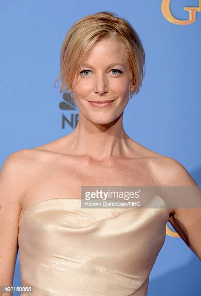 71st ANNUAL GOLDEN GLOBE AWARDS -- Pictured: Actress Anna Gunn poses in the press room at the 71st Annual Golden Globe Awards held at the Beverly...