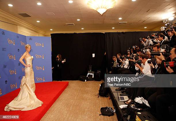 71st ANNUAL GOLDEN GLOBE AWARDS Pictured Actress Anna Gunn poses in the press room at the 71st Annual Golden Globe Awards held at the Beverly Hilton...