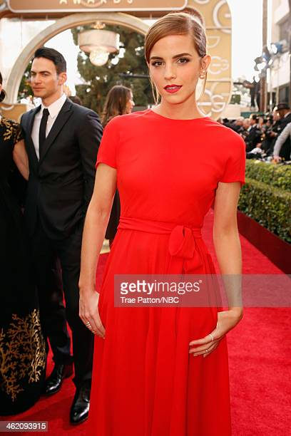 71st ANNUAL GOLDEN GLOBE AWARDS -- Pictured: Actress Emma Watson arrives to the 71st Annual Golden Globe Awards held at the Beverly Hilton Hotel on...
