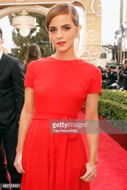 71st ANNUAL GOLDEN GLOBE AWARDS Pictured Actress Emma Watson arrives to the 71st Annual Golden Globe Awards held at the Beverly Hilton Hotel on...