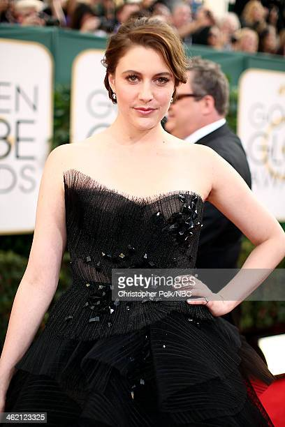 71st ANNUAL GOLDEN GLOBE AWARDS Pictured Actress Greta Gerwig arrives to the 71st Annual Golden Globe Awards held at the Beverly Hilton Hotel on...