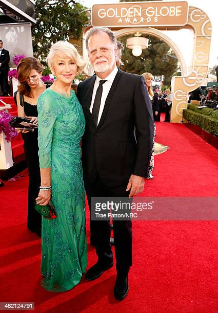 71st ANNUAL GOLDEN GLOBE AWARDS Pictured Actress Helen Mirren and director Taylor Hackford arrive to the 71st Annual Golden Globe Awards held at the...