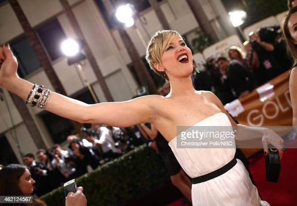 71st ANNUAL GOLDEN GLOBE AWARDS Pictured Actress Jennifer Lawrence arrives to the 71st Annual Golden Globe Awards held at the Beverly Hilton Hotel on...