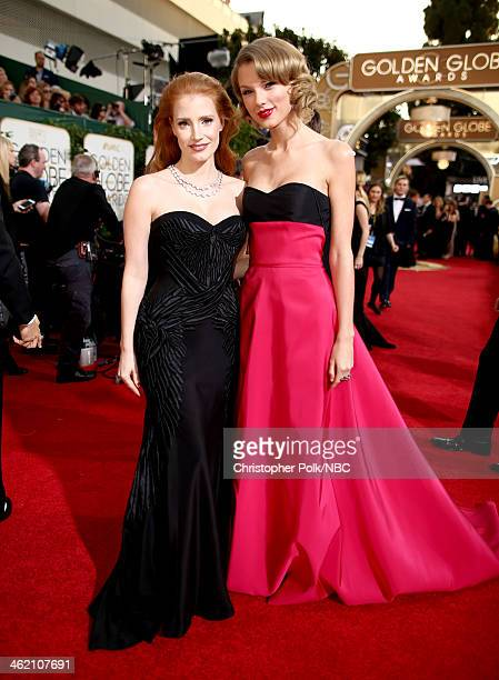 71st ANNUAL GOLDEN GLOBE AWARDS Pictured Actress Jessica Chastain and recording artist Taylor Swift arrive to the 71st Annual Golden Globe Awards...