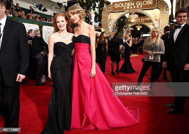 71st ANNUAL GOLDEN GLOBE AWARDS Pictured Actress Jessica Chastain and Taylor Swift arrive to the 71st Annual Golden Globe Awards held at the Beverly...