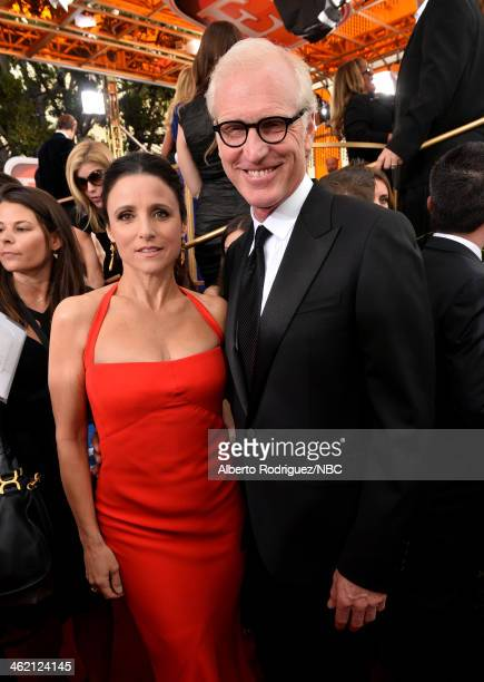 71st ANNUAL GOLDEN GLOBE AWARDS Pictured Actress Julia LouisDreyfus and writer Brad Hall arrive to the 71st Annual Golden Globe Awards held at the...
