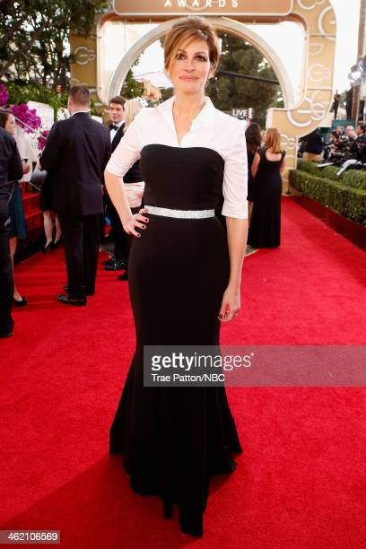 71st ANNUAL GOLDEN GLOBE AWARDS -- Pictured: Actress Julia Roberts arrives to the 71st Annual Golden Globe Awards held at the Beverly Hilton Hotel on...