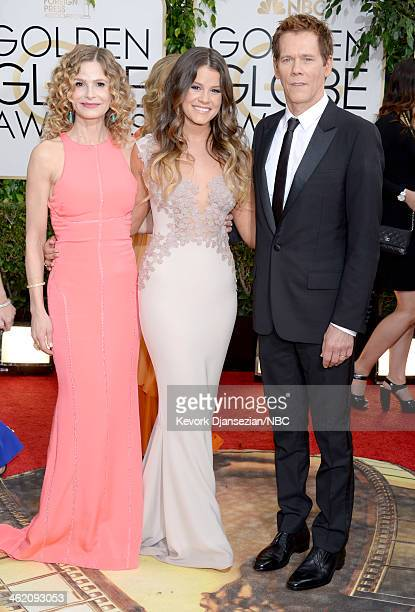 71st ANNUAL GOLDEN GLOBE AWARDS Pictured Actress Kyra Sedgwick Miss Golden Globe Sosie Bacon and actor Kevin Bacon arrive to the 71st Annual Golden...
