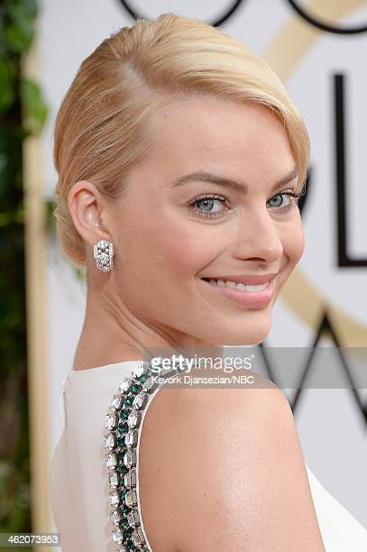 71st ANNUAL GOLDEN GLOBE AWARDS -- Pictured: Actress Margot Robbie arrives to the 71st Annual Golden Globe Awards held at the Beverly Hilton Hotel on...