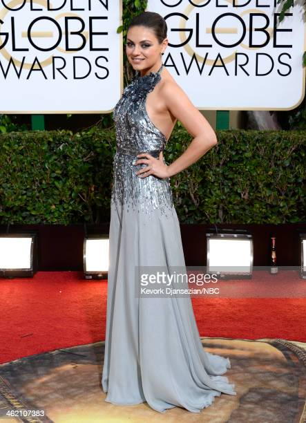 71st ANNUAL GOLDEN GLOBE AWARDS Pictured Actress Mila Kunis arrives to the 71st Annual Golden Globe Awards held at the Beverly Hilton Hotel on...