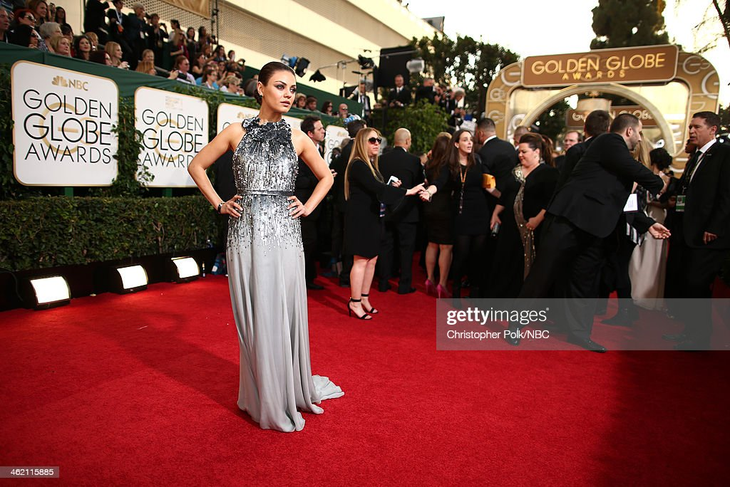 71st ANNUAL GOLDEN GLOBE AWARDS -- Pictured: Actress Mila Kunis arrives to the 71st Annual Golden Globe Awards held at the Beverly Hilton Hotel on January 12, 2014 --