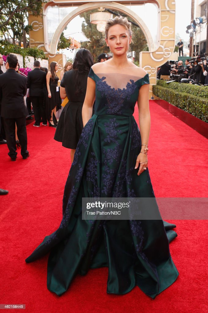 71st ANNUAL GOLDEN GLOBE AWARDS -- Pictured: Actress Rebecca Ferguson arrives to the 71st Annual Golden Globe Awards held at the Beverly Hilton Hotel on January 12, 2014 --
