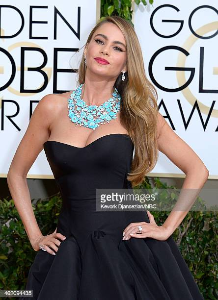 71st ANNUAL GOLDEN GLOBE AWARDS Pictured Actress Sofia Vergara arrives to the 71st Annual Golden Globe Awards held at the Beverly Hilton Hotel on...