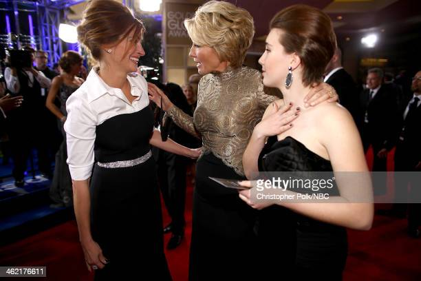 71st ANNUAL GOLDEN GLOBE AWARDS -- Pictured: Actresses Julia Roberts, Emma Thompson and Gaia Wise arrive to the 71st Annual Golden Globe Awards held...