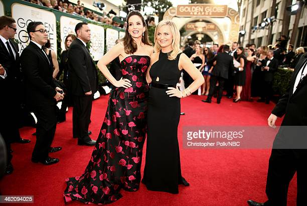 71st ANNUAL GOLDEN GLOBE AWARDS Pictured Actresses Tina Fey and Amy Poehler arrive to the 71st Annual Golden Globe Awards held at the Beverly Hilton...